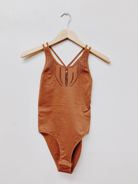 All In Comfort Bodysuit- Brick