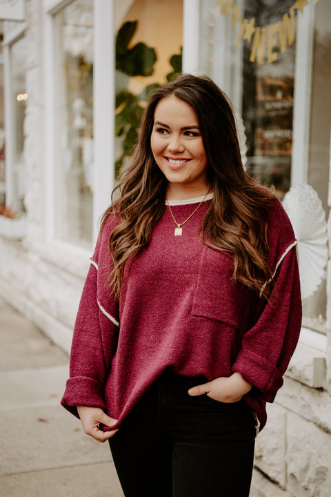 Midnight Walks Sweater- Merlot