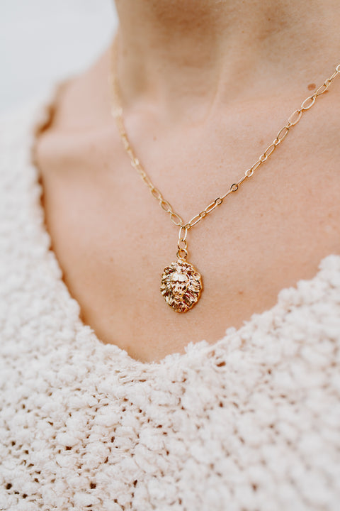 Lions Head Necklace- Gold Plated