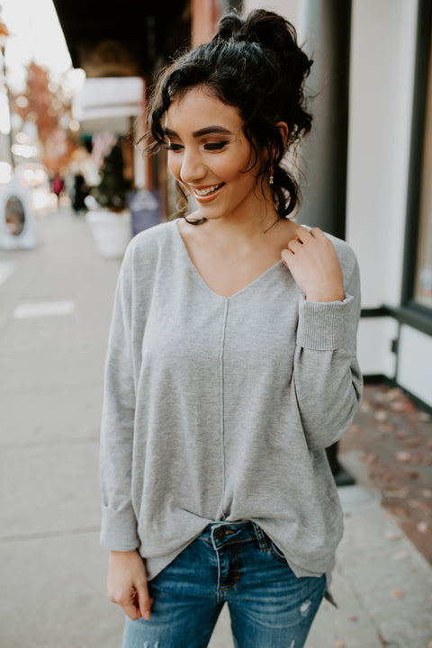 Lighting Up Inside Sweater- Grey