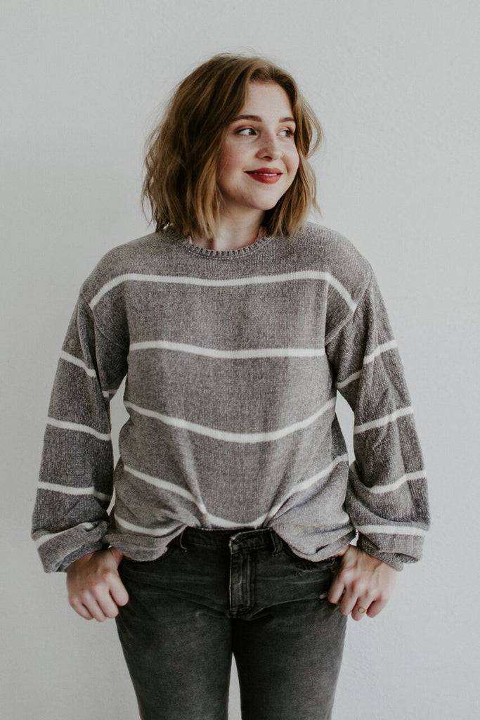 Talking Stripes Sweater - Grey