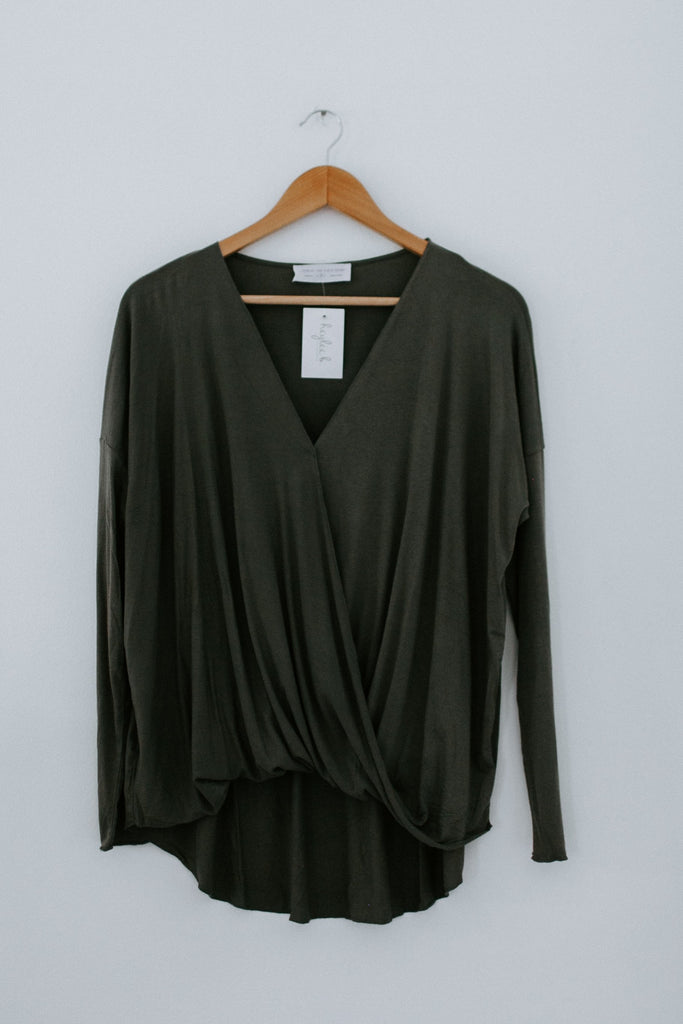 I Like To Wrap Top LS -Dark Olive