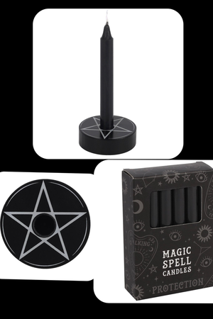 12 Pack purple or black Spell Candles & Pentagram Candle Holder