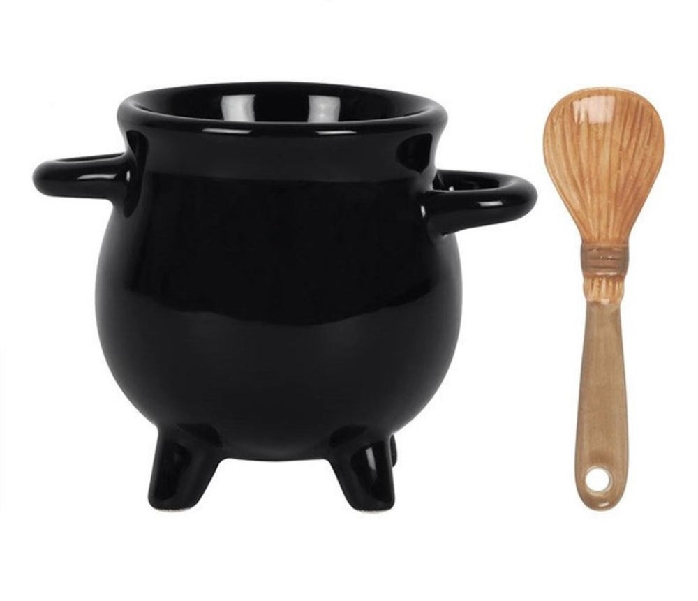 Cauldron Egg Cup with Brookstick Spoon