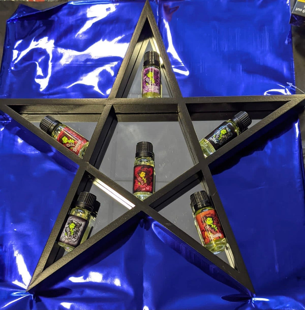 Black pentagram mirrored shelf 6 mini perfume gift set