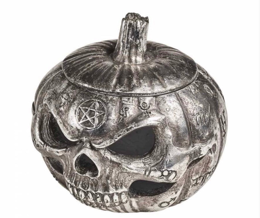 Pumpkin skull storage/ led light pot