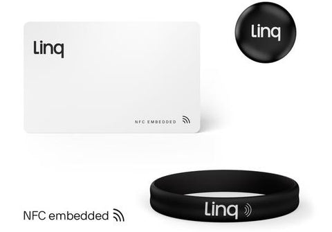 Linq SmartProducts include the card, tap button, and bracelet seen here