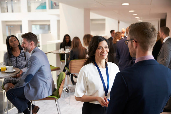 Businesswoman networking at a professional event
