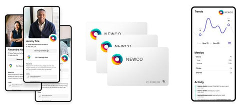 rendering of what electronic business cards look like with the Linq app and Linq cards