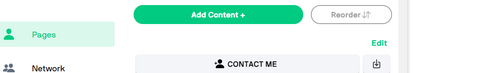 Close-up of white and grey Reorder button next to green Add Content+