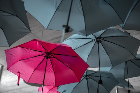 A pink umbrella stands out from the grey umbrellas