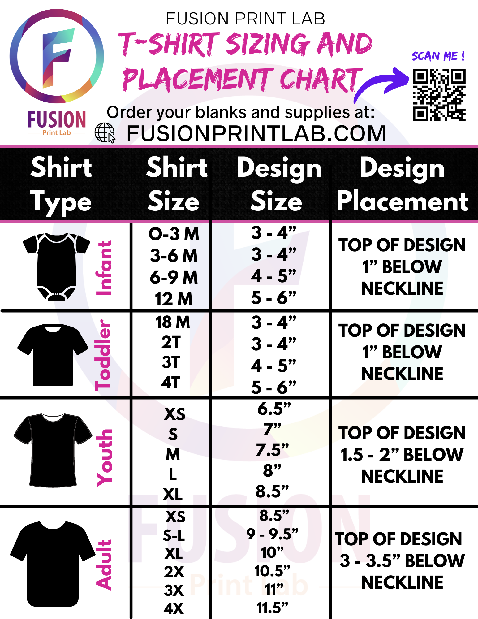 T-Shirt Sizing and Placement Chart