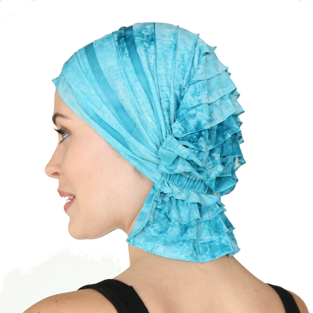 Ruffle provides volume to the look and mimics feeling of hair. How to tie a scarf?---Not! Slip-on headcovers. Not your grandmother's turban plus a feminine sweet look!Molly Chemobeanies®