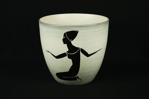 White flower pot with decorative female figures by Paul Milet for Sèvres, circa 1950