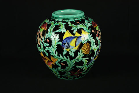 Signed Cerart Monaco pottery vase cut and enamelled décor of fish in seabed, polychrome enamel, circa 1950
