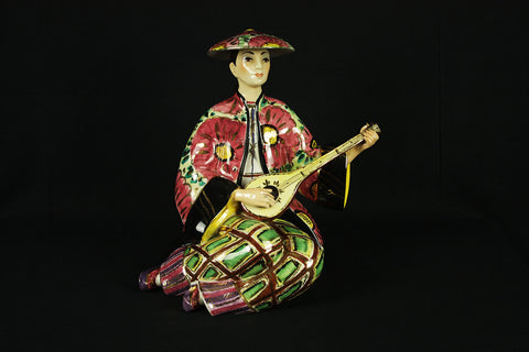 Italian porcelain Majolica image of a Japanese woman in geisha robe, circa 1950