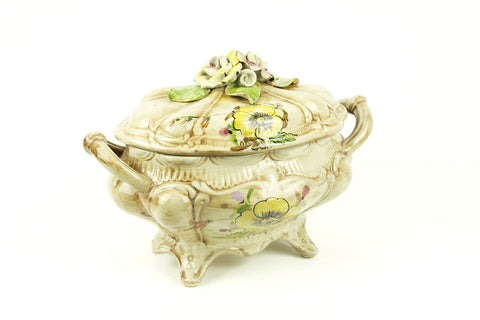 Highly decorative porcelain soup terrine from Italy, circa 1970