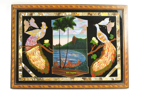 Antique 'reverse painting' of Rio de Janeiro with butterfly wings (Morpho Menelaus) with wooden frame, circa 1940