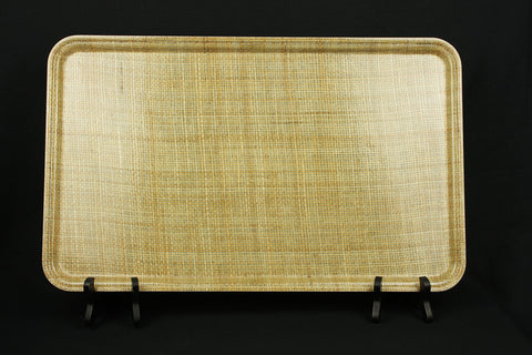 Vintage 'Camlite' by Cambro tray, color rattan, with burlap motif