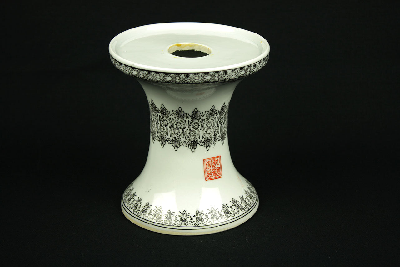 Chinese lamp base of porcelain with black stencil decor and marked, from the 1970s
