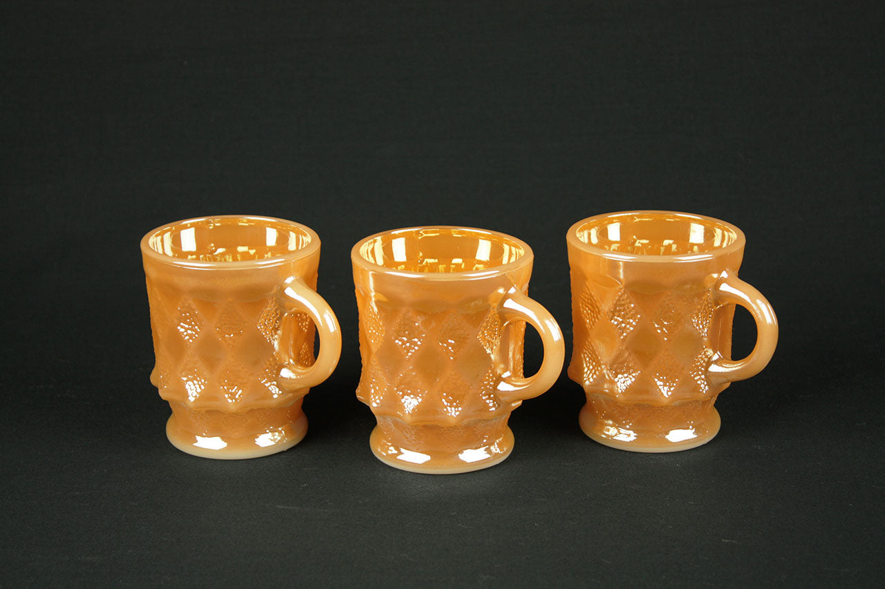 Set of 3 mugs from Anchor Hocking Fire King 'Peach Lustre' style