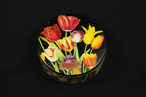 Huntley & Palmer's cookie jar with tulip décor, circa 1950