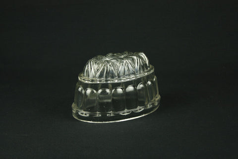 Pressed glass pudding mold, circa 1930