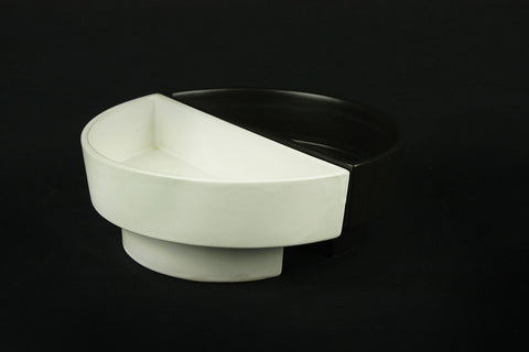 Duo-bowl in black and white plateel version, circa 1990