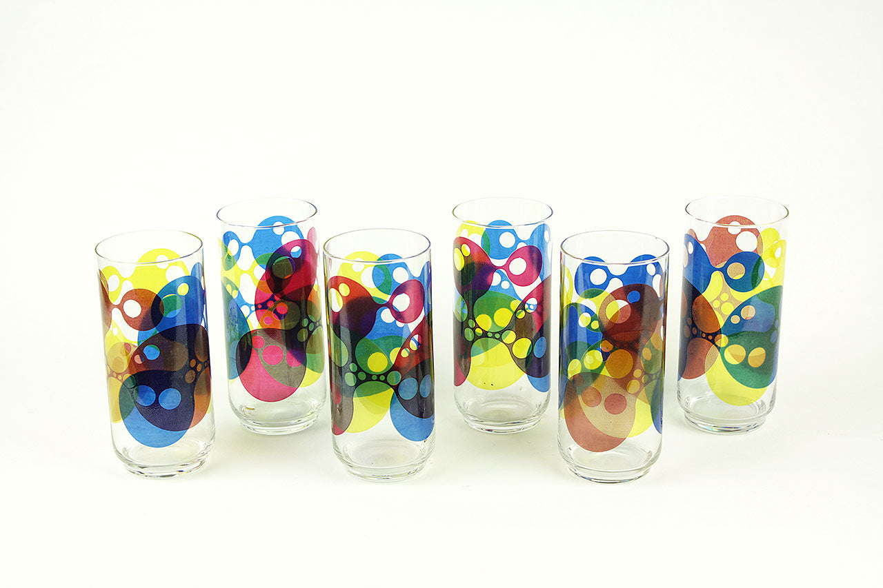 6 Longdrink glasses with psychedelic décor, 70s