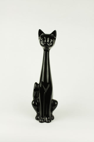 Pottery long neck cat in black version, circa 1980