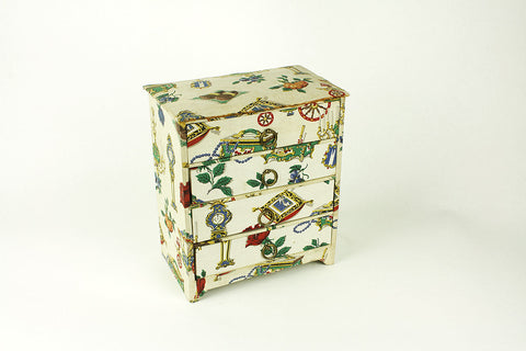 Small jewel box with drawers, lined with fabric, circa 1960