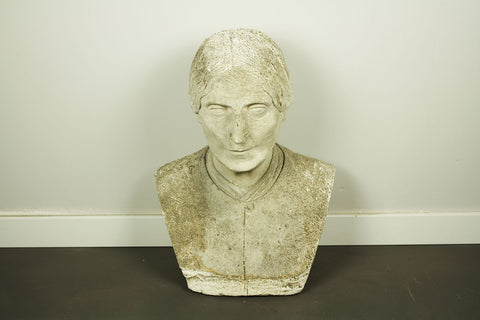 Plaster bust of serious woman, with beautiful patina