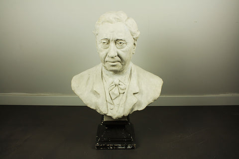 Plaster bust of charismatic man, signed by A. Laplanche, 1891