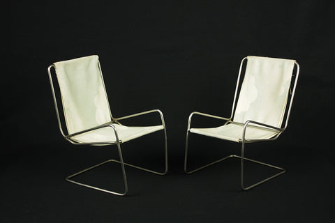 Vintage Bauhaus miniature furniture set, antique curved metal armchairs, circa 1950