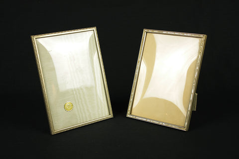 Glass frame with bulb (Jyden) and nickel frame & list with mother of pearl, circa 1950