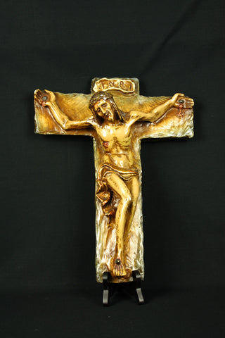 Ceramic Jesus Christ corpus (crucifix) by Jan Oosterman, circa 1950