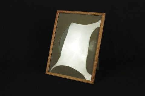 Oak picture frame with bulb glass, circa 1950