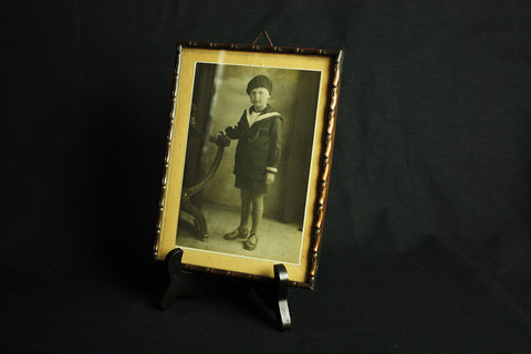 Faux bamboo copper picture frame, circa 1920