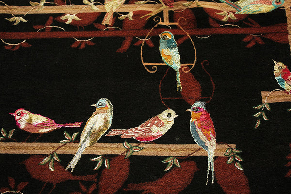 Tabriz 'Chehel Tutti' rug (wool/silk) with bird décor, Persia, circa 1970/80