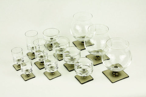 "Super stylish set of 12 Georg Jensen by Rosenthal ""Berlin"" crystal glassware from 1957"