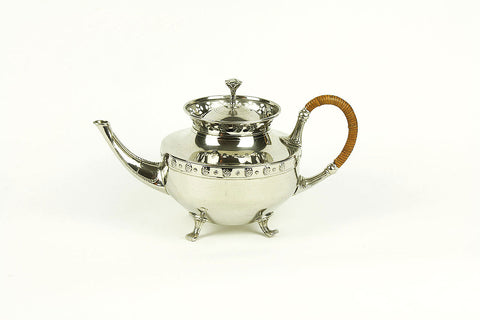 Artdeco teapot in chrome tin by KMD Tiel, circa 1895