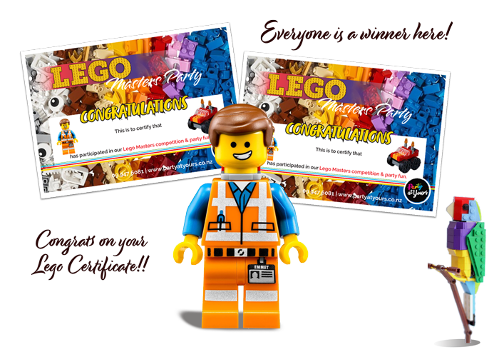 lego party certificates Auckland