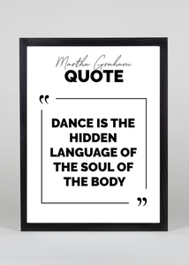 Dance is the language of the soul Quote - Wall Art