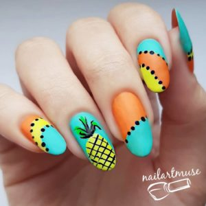 Summer Nail Art Pineapple