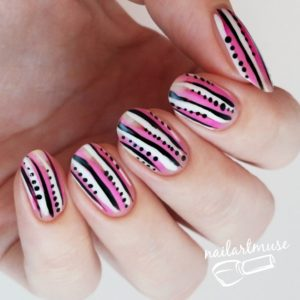 Summer Nail Art Pink Black White