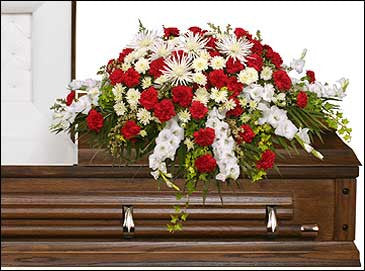 Graceful Red and White Casket Spray