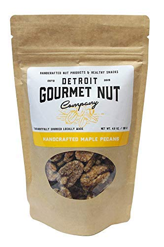 Detroit Gourmet Nut Company, Handcrafted Maple Pecans, 4.6 oz Bag