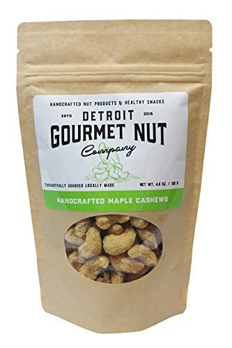 Detroit Gourmet Nut Company, Handcrafted Maple Cashews, 4.6 oz Bag