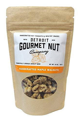 Detroit Gourmet Nut Company, Handcrafted Maple Walnuts, 4.6 oz Bag