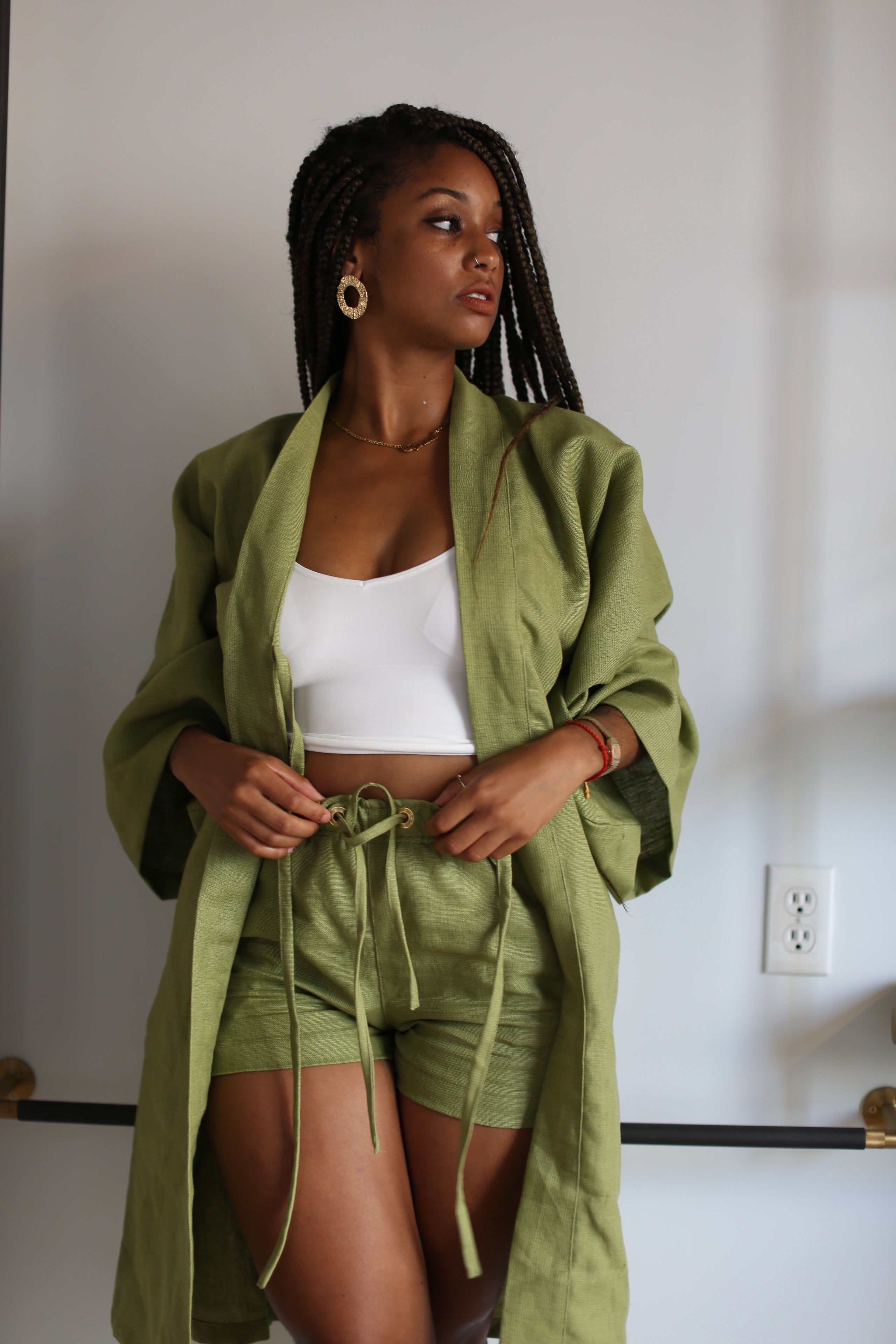 Classic Linen Robe Set in Army Green